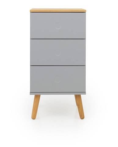 Sivá skrinka s detailmi v dekore dubového dreva s 3 zásuvkami Tenzo Dot, šírka 40 cm