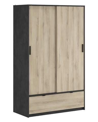 Skriňa s posuvnými dverami PERFECT dub/čierny antik