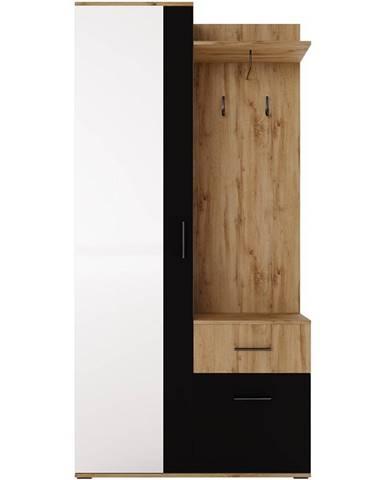 Predsieňový nábytok Rio zrkadlo wotan/čierna