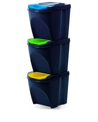 Kôš na triedený odpad Sortibox 25 l, 3 ks, antracit IKWB20S3 – S433