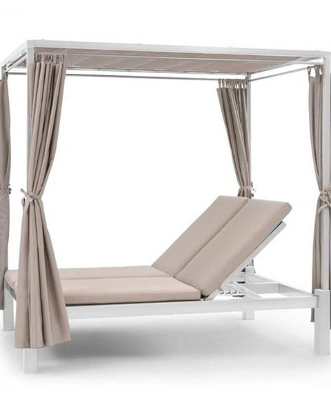 Blumfeldt Blumfeldt Eremitage Double Sunbed, ležadlo pre 2 osoby, oceľový rám, slnečná strieška, závesy, krémové