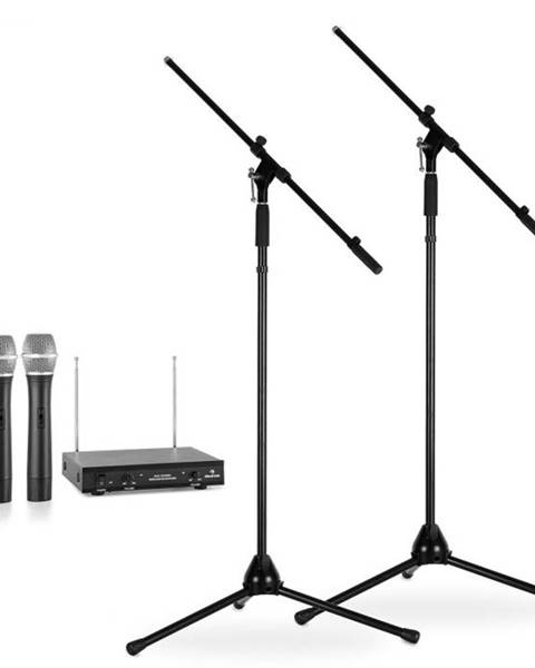 Electronic-Star Electronic-Star Sada bezdrôtových mikrofónov so statívmi, 2 VHF rádiové mikrofóny, 2 stojany, čierne