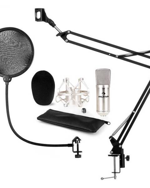 Auna Auna CM001S mikrofónová sada V4, kondenzátorový mikrofón, mikrofónové rameno, pop filter, strieborná farba