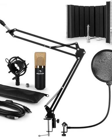 Auna MIC-900BG V5, zlatá, mikrofónová sada, kondenzátorový mikrofón, pop-filter, resorpčný panel, rameno