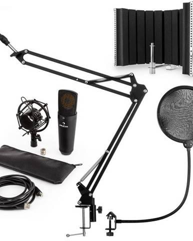 Auna MIC-920B, USB mikrofónová sada V5, čierna, kondenzátorový mikrofón, mikrofónové rameno, pop filter, akustická clona