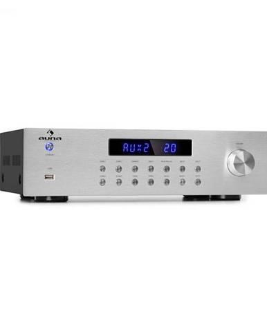 Auna AV2-CD850BT, 4-zónový HiFi stereo zosilňovač, 8 x 50 W RMS, bluetooth, USB, FM, strieborný