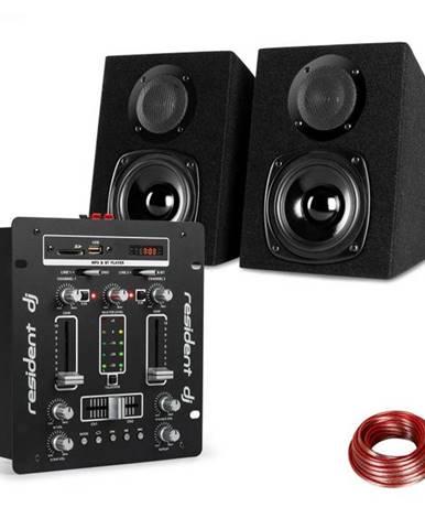 Resident DJ DJ-25, sada zariadení, DJ mixér + auna ST-2000, reproduktor, čierna/biela
