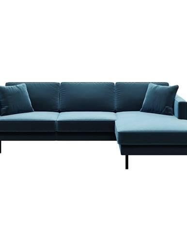 Modrá zamatová rohová pohovka MESONICA Kobo, pravý roh