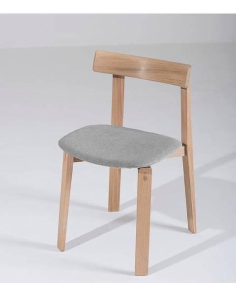 Gazzda Jedálenská stolička z masívneho dubového dreva so sivým sedadlom Gazzda Nora