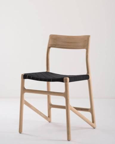 Jedálenská stolička z masívneho dubového dreva s čiernym sedadlom Gazzda Fawn