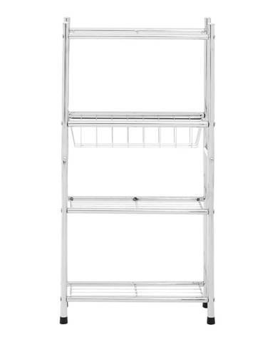 Biely 4-poschodový úložný regál s policami a košíkom Premier Housewares