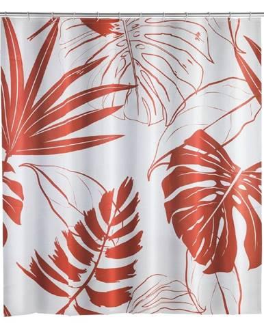 Sprchový záves Wenko Red Monstera, 180×200 cm