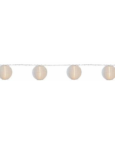 Biela svetelná LED reťaz s lampiónmi vhodná do exteriéru Best Season Festival, 10 svetielok