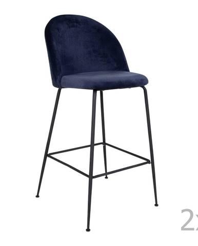 Súprava 2 modrých barových stoličiek so zamatovým poťahom s nohami čiernej farby HoNordic Lausanne
