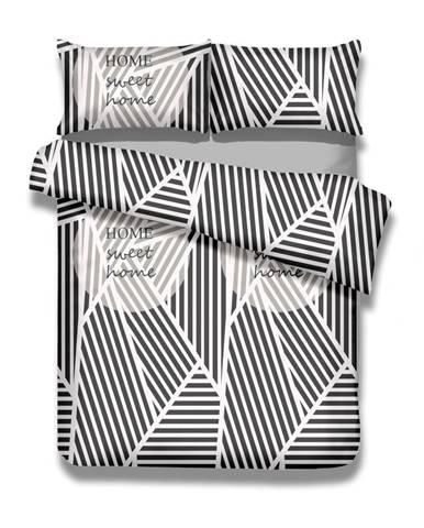 Súprava bavlnenej obliečky na perinu a obliečky na vankúš AmeliaHome Averi Sweet Home Light, 135×200 cm + 80×80 cm