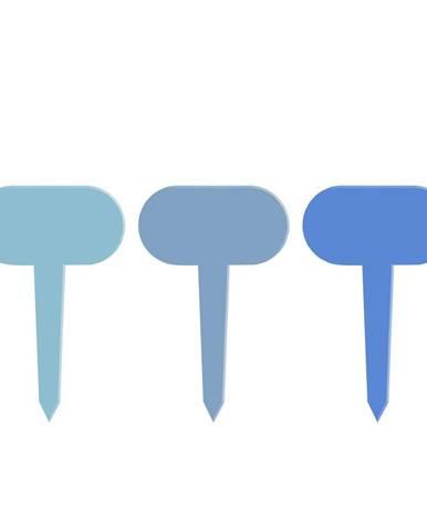 Súprava 3 modrých tabuliek k rastlinám Esschert Design Gardener, dĺžka 11 cm