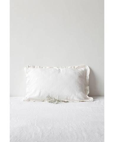 Biela ľanová obliečka na vankúš s riaseným lemom Linen Tales, 50 x 60 cm