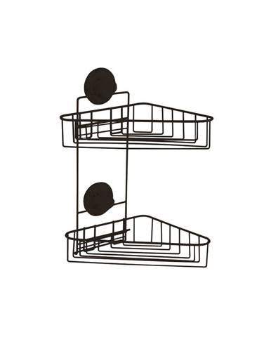Čierna samodržiaca nástenná rohová kúpeľňová polička Compactor Bestlock Black Corner Rack 2 Shelves