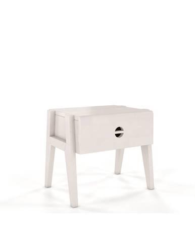 Biely nočný stolík z bukového dreva so zásuvkou Skandica Visby Radom