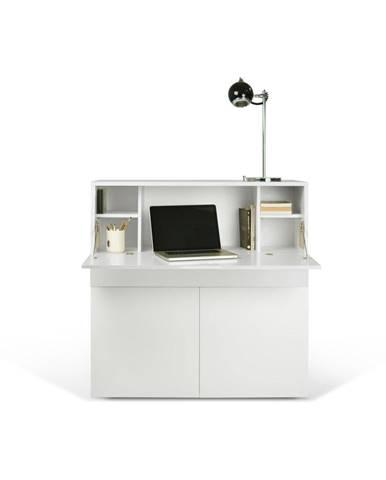 Biely pracovný stôl TemaHome Focus, 110 × 109 cm