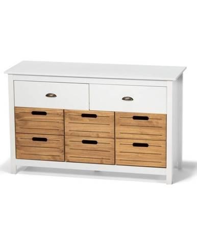 Biela komoda z borovicového dreva s 8 zásuvkami loomi.design Ibiza