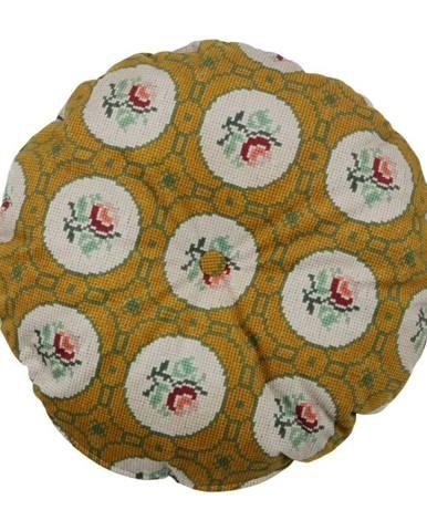 Okrovožltý dekoratívny guľatý vankúš BePureHome Granny, ø 45 cm
