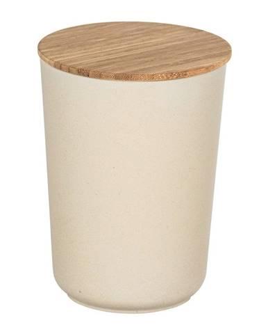 Béžový úložný box s bambusovým vekom Wenko Bondy, 700 ml