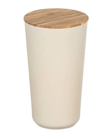 Béžový úložný box s bambusovým vekom Wenko Bondy, 950 ml