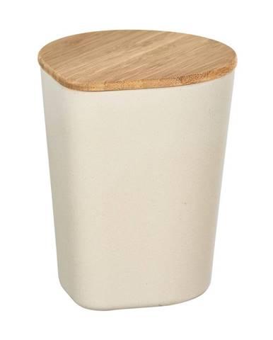 Béžový úložný box s bambusovým vekom Wenko Derry, 750 ml