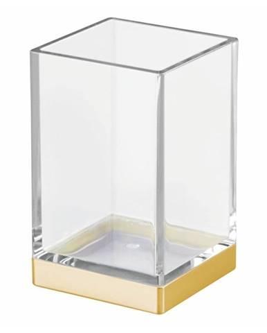Plastový kúpeľňový pohárik s detailom v zlatej farbe InterDesign