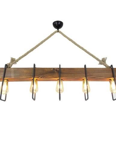 Drevené stropné závesné svietidlo Demir, 5 žiaroviek