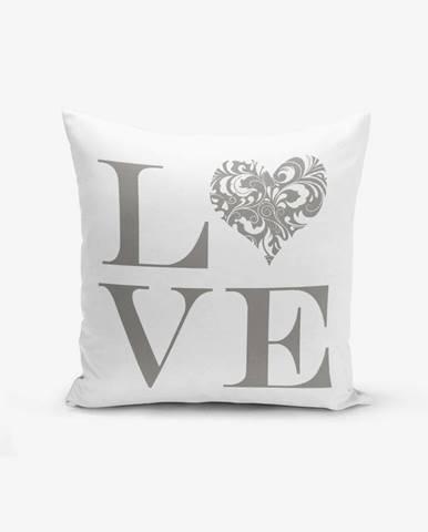 Obliečka na vaknúš s prímesou bavlny Minimalist Cushion Covers Love Grey, 45×45 cm