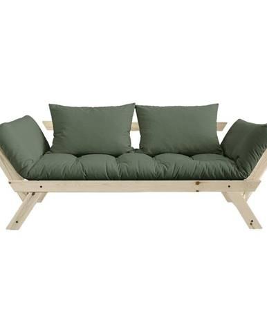 Rozkladacia pohovka so zeleným poťahom Karup Design Bebop Natural/Olive Green