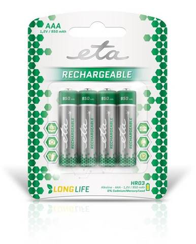 Batéria nabíjacie ETA AAA, HR03, 950mAh, Ni-MH, blistr 4ks