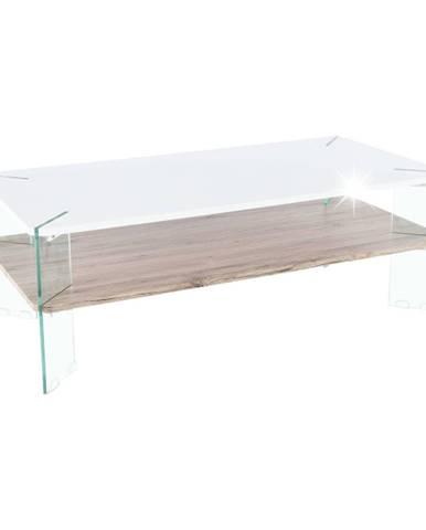 Konferenčný stolik biela HG s leskom/vzor drevo MABILO