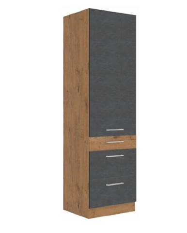 Vysoká skrinka dub lancelot/sivá matná VEGA 60 DKS-210 3S 1F