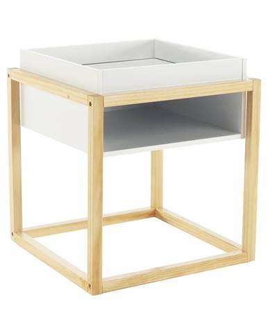 Príručný/nočný stolík biela/prírodná HAGAN