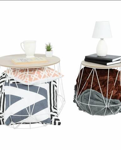 Set príručných stolíkov prírodná/biela DALUX