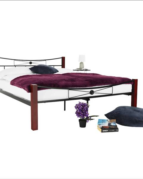 Tempo Kondela Kovová posteľ drevo orech/čierny kov 160x200 PAULA rozbalený tovar