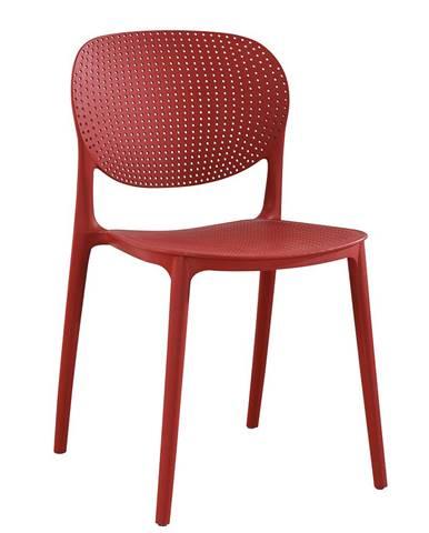 Stohovateľná stolička červená FEDRA