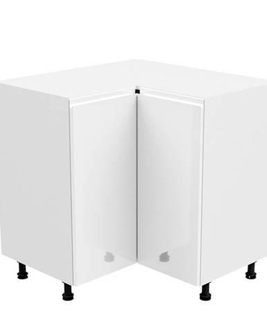 Spodná rohová skrinka biela/biela extra vysoký lesk AURORA D90N
