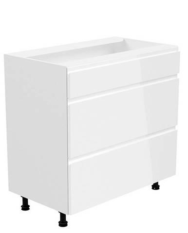 Spodná skrinka biela/biela extra vysoký lesk AURORA D80S3