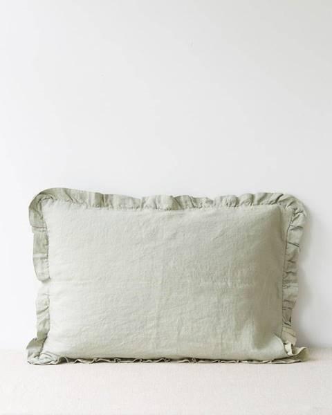 Linen Tales Svetlozelená ľanová obliečka na vankúš s riaseným lemom Linen Tales, 50 x 60 cm