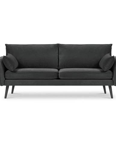 Tmavosivá zamatová pohovka s čiernymi nohami Kooko Home Lento, 198 cm