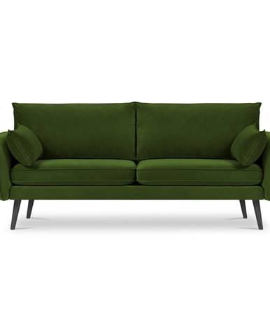 Zelená zamatová pohovka s čiernymi nohami Kooko Home Lento, 198 cm