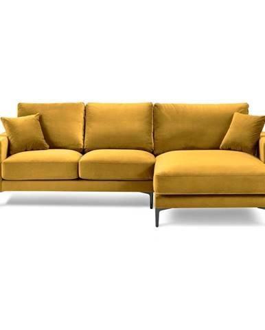 Žltá zamatová rohová pohovka Kooko Home Harmony, pravý roh