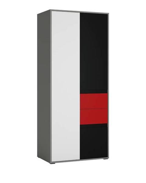 Sconto Skriňa LASER červená/sivá