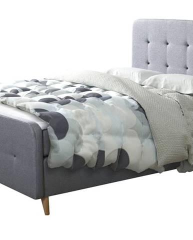 Posteľ s roštom a matracom SCANDIC sivá, 180x200 cm