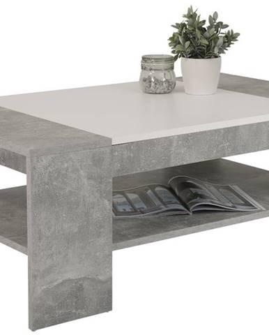 Konferenčný stolík OLIVER betón/biela