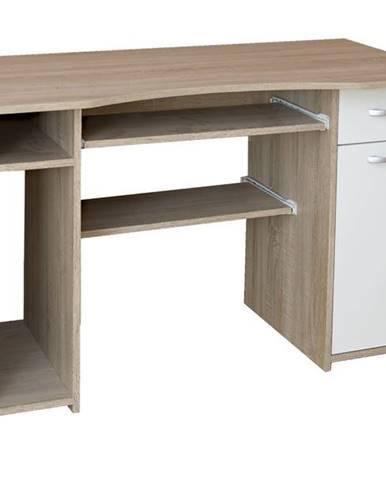 PC stôl LINDA dub sonoma/biela